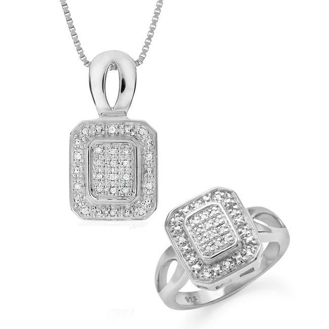 0.30 Carat Diamond Fashion Set in Sterling Silver with Chain