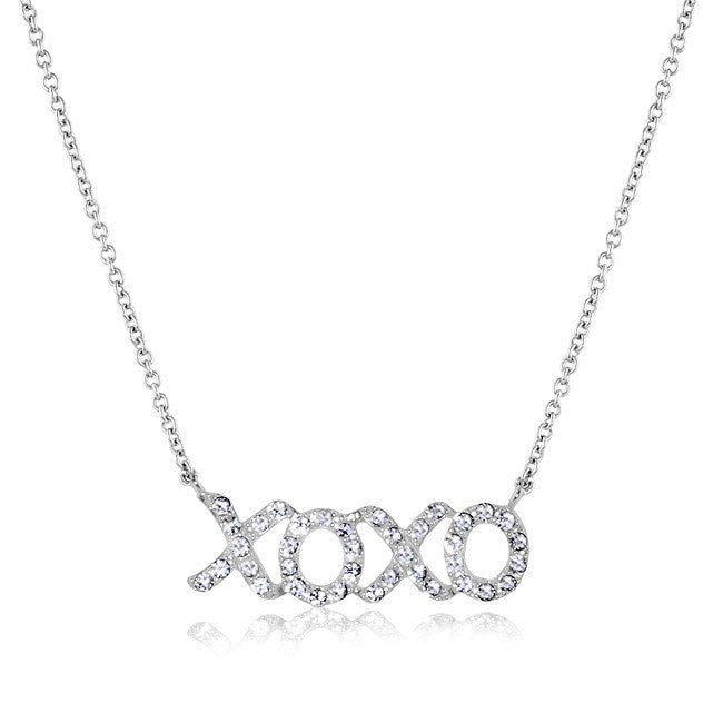 Swarovski Elements XO Necklace in Sterling Silver - 18""