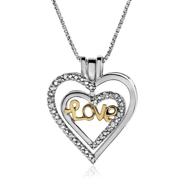 "Sterling Silver Two-Tone 3-in-1 Diamond Heart Pendant with 18"" Chain"