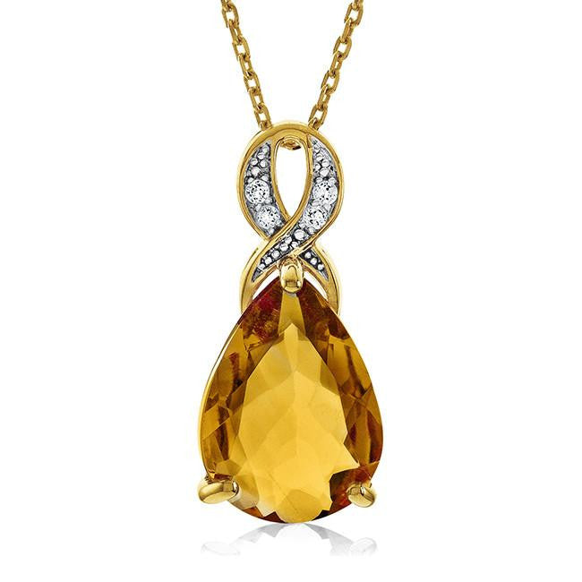 "4.60 Carat Genuine Citrine & White Topaz Teardrop Pendant in 14K Yellow Gold Over Silver with 18"" Chain"