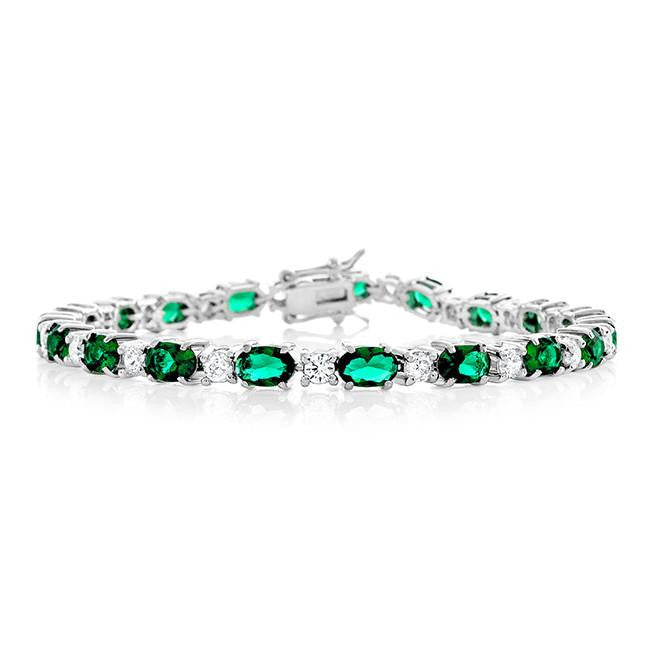 17.25 Carat Simulated Emerald & Cubic Zirconia Bracelet in Sterling Silver - 7.25""