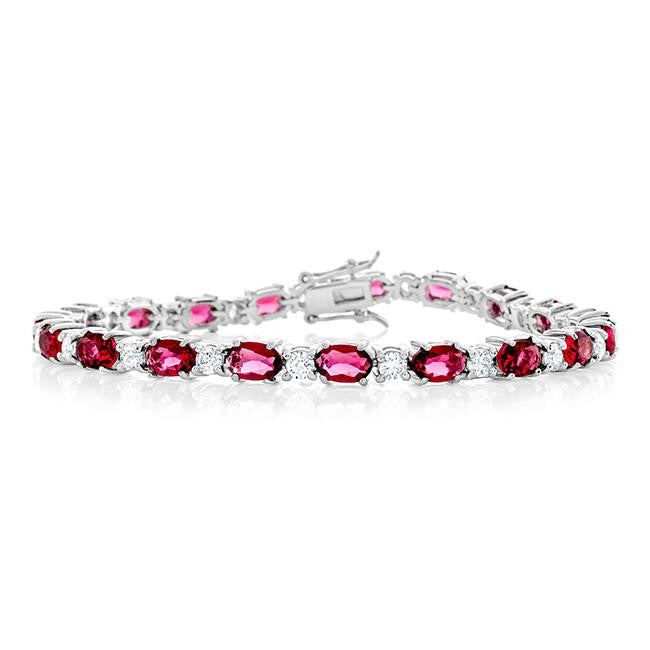 17.25 Carat Simulated Pink Sapphire & Cubic Zirconia Bracelet in Sterling Silver - 7.25""