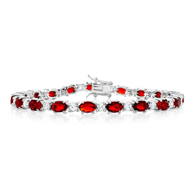 17.25 Carat Simulated Ruby & Cubic Zirconia Bracelet in Sterling Silver - 7.25""