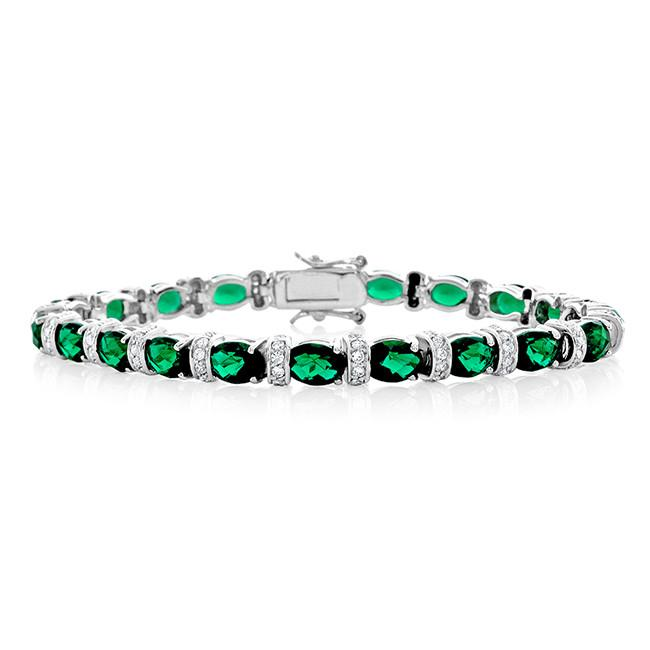 29.25 Carat Simulated Emerald & Cubic Zirconia Bracelet in Sterling Silver - 7.25""