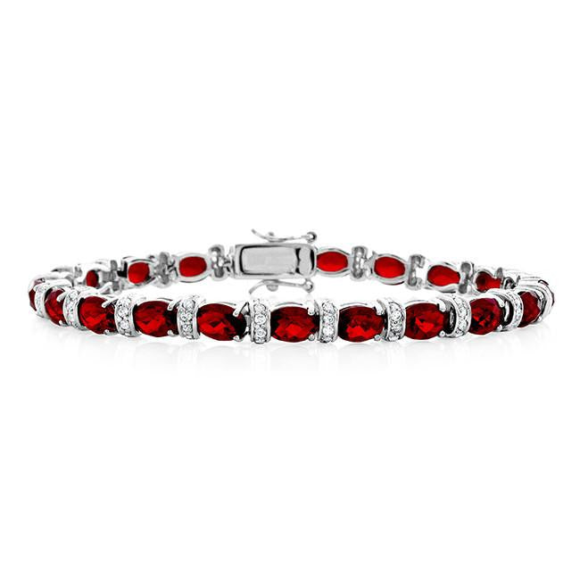 29.25 Carat Simulated Ruby & Cubic Zirconia Bracelet in Sterling Silver - 7.25""