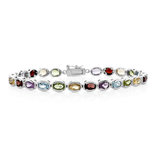 11.00 Carat Multi-Gemstone Bracelet in Sterling Silver  - 7.5""