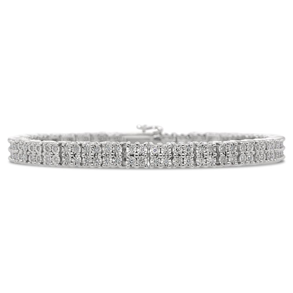 Diamond Miracles: 1.25 Carat Diamond Bracelet in Sterling Silver - 7""