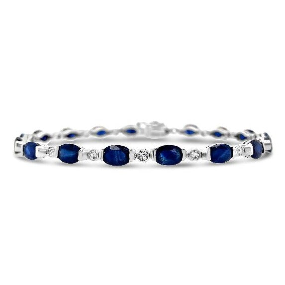 10.00 Carat Genuine Blue Sapphire & White Topaz Bracelet in Sterling Silver - 7""