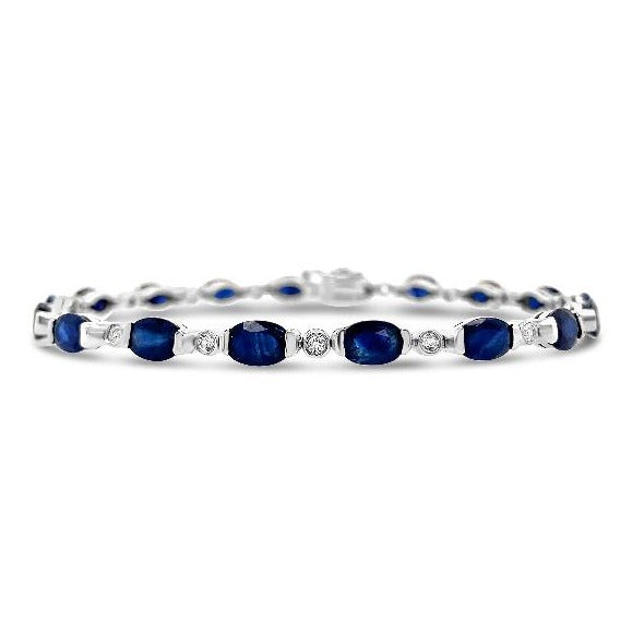 10.55 Carat Genuine Blue Sapphire & White Topaz Bracelet in Sterling Silver - 7.5""