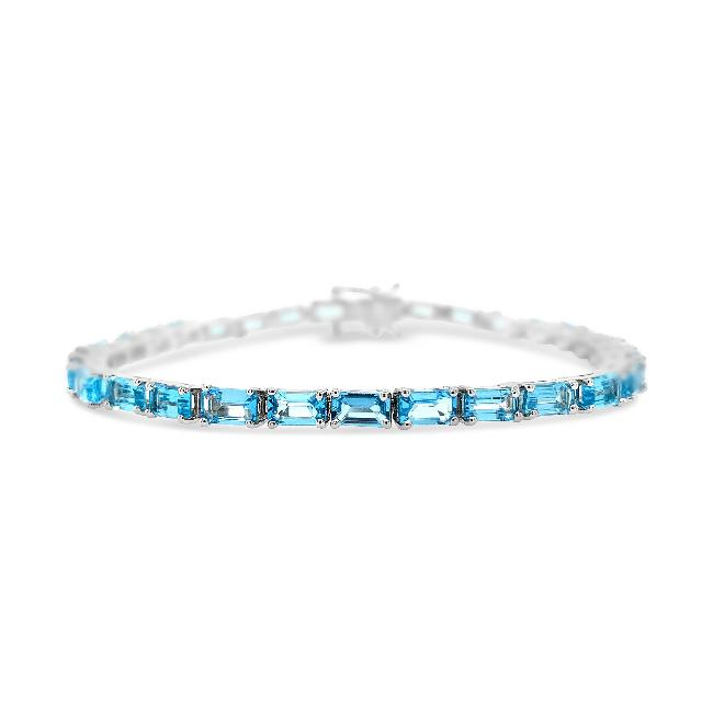 8.00 Carat Genuine Blue Topaz Tennis Bracelet in Sterling Silver - 7.5""