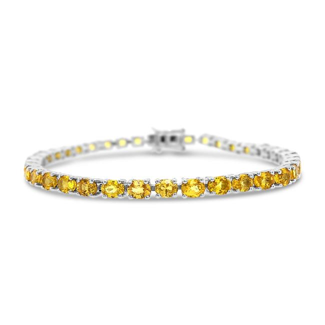 8.50 Carat Genuine Yellow Sapphire Tennis Bracelet in Sterling Silver - 7""
