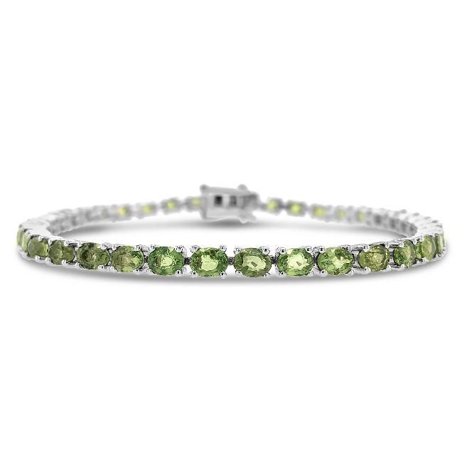 8.00 Carat Genuine Green Sapphire Tennis Bracelet in Sterling Silver - 6.5""