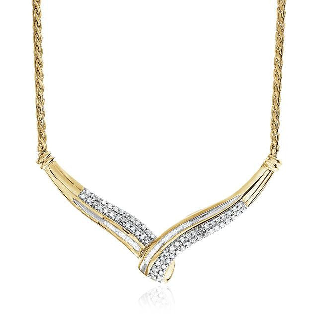 0.33 Carat Diamond Necklace in Gold Over Sterling Silver