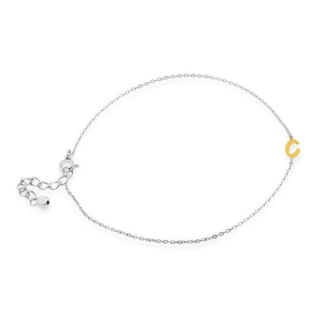 Sterling Silver Two-Tone 'C' Anklet - Size 9