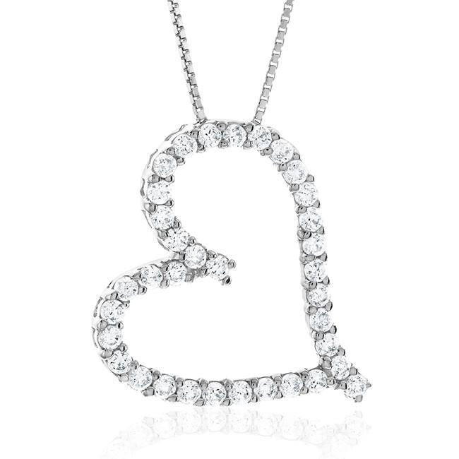 "Sterling Silver CZ Heart Pendant & 18"" Chain"