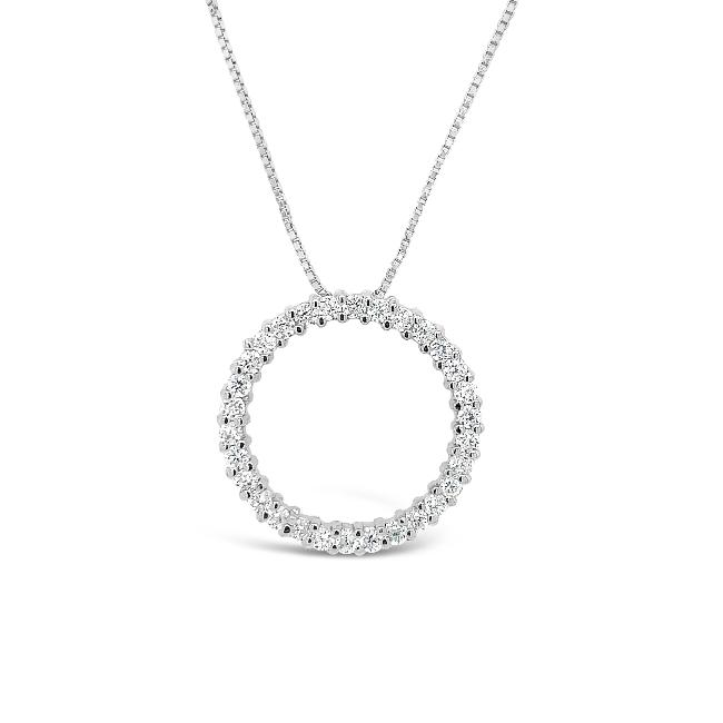 CZ Circle Pendant in Sterling Silver - 18""