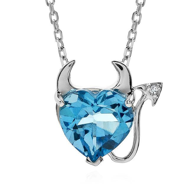 "3.00 Carat Blue Topaz Devil Heart Pendant in Sterling Silver with 18"" Chain"