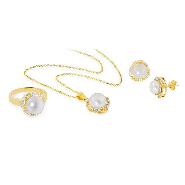 Freshwater Pearl Earring, Ring and Pendant Set in Gold-Plated Silver