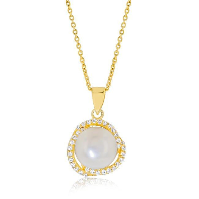Freshwater Pearl Pendant with Cubic Zirconia Accents in Gold-Plated Silver - 18""