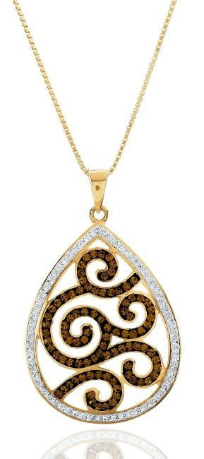 "Brown & White Crystal Teardrop Pendant in Yellow Gold Over Sterling Silver with 18"" Chain"