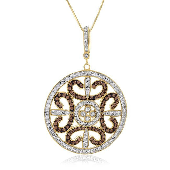 "Brown & White Crystal Circle Pendant in Yellow Gold Over Sterling Silver with 18"" Chain"