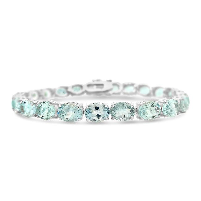 25.00 Carat Genuine Aquamarine Tennis Bracelet in Sterling Silver - 7.5""