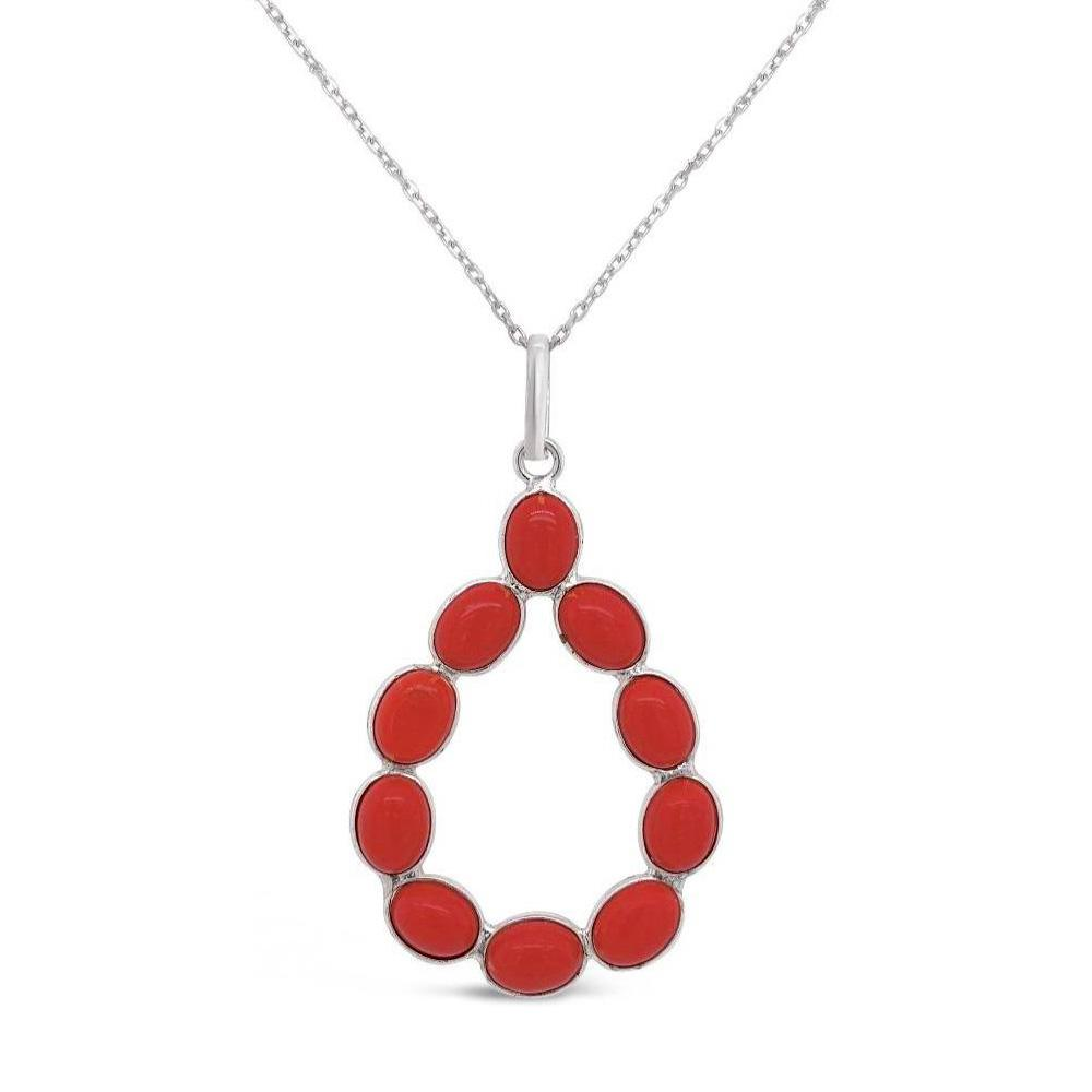 8.50 Carat Genuine Coral Teardrop Pendant in Sterling Silver - 18