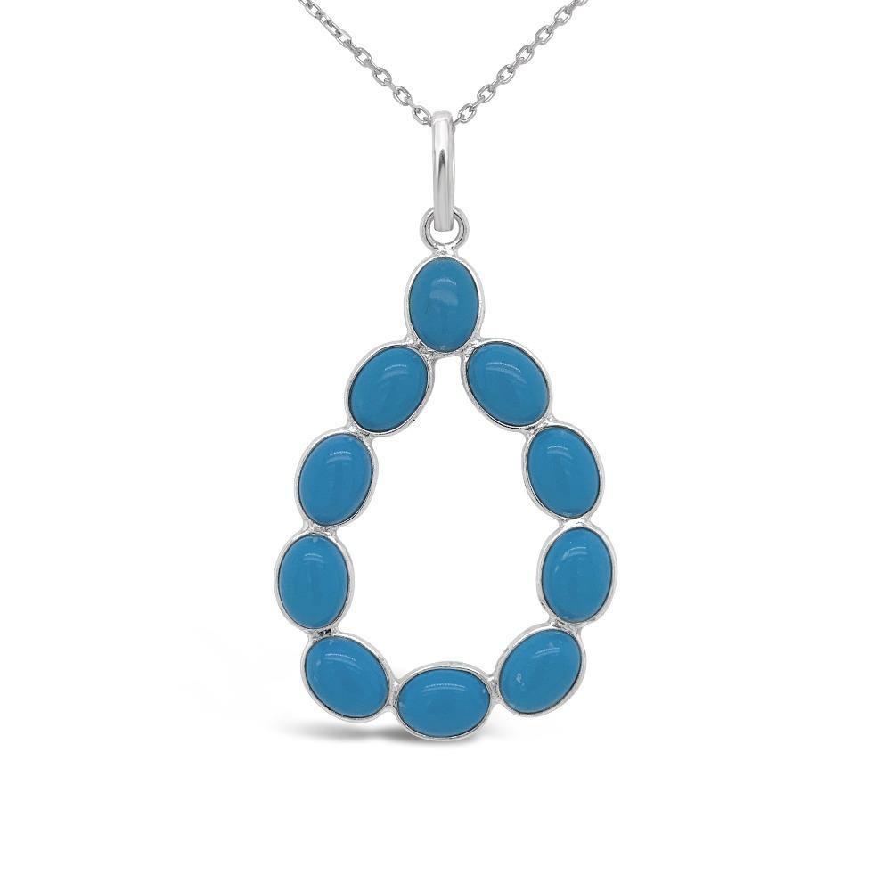 8.50 Carat Genuine Turquoise Teardrop Pendant in Sterling Silver - 18""