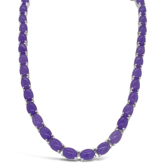 47.04 Carat Purple Jade Necklace in Sterling Silver - 16""