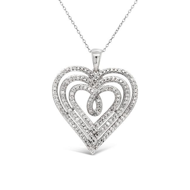 1/2 Carat Diamond Heart Pendant in Sterling Silver - 18""