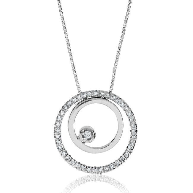 "0.25ctw. Diamond & Sterling Silver ""Circles of Love"" Pendant with 18"" Chain"