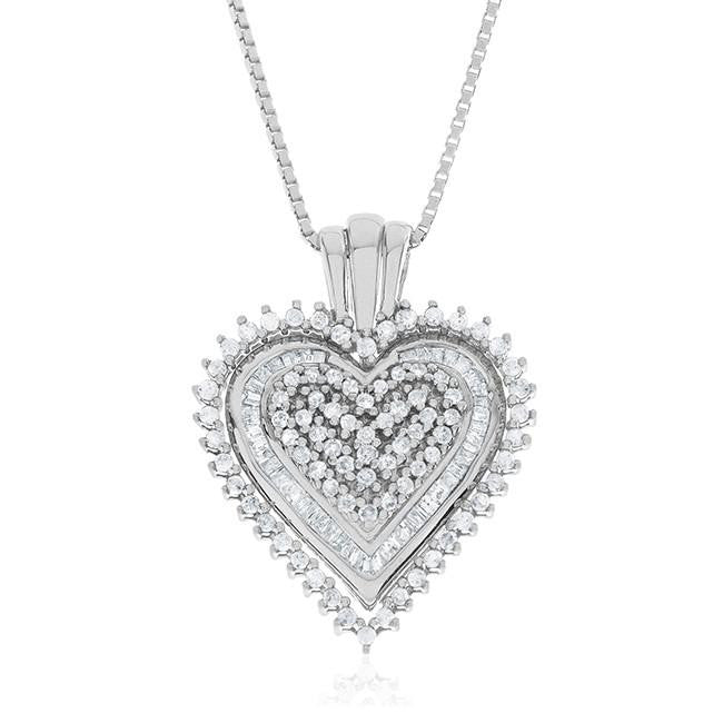 0.33 Carat Diamond 3-in-1 Heart Pendant in Sterling Silver