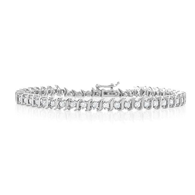 1.00 Carat Diamond S-Link Tennis Bracelet in Sterling Silver - 7""