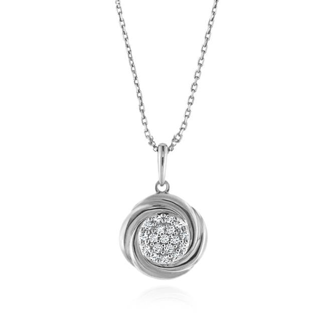 "Diamond Accented Pendant in Sterling Silver with 18"" Chain"