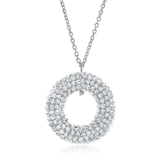 "Sterling Silver and Clear Crystal Circle Pendant with 18"" Chain"