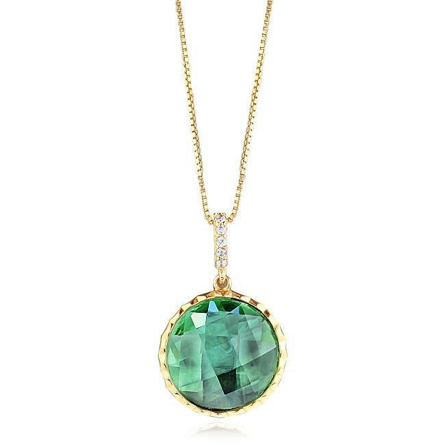 "Mint Green Circle Pendant with Cubic Zirconia in Yellow Gold-Plated Sterling Silver with 18"" Chain"