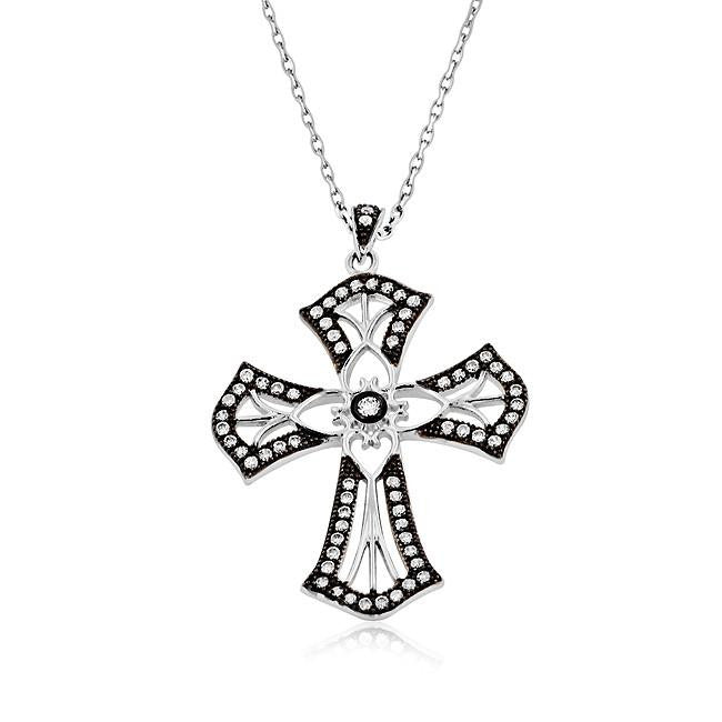 Cubic Zirconia Cross Pendant in Sterling Silver with Chain