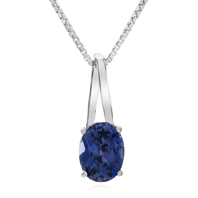 1.50 Carat Oval Blue Sapphire Pendant in Sterling Silver