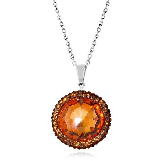 Champagne Cubiz Zirconia and Smoky Topaz Circle Pendant in Sterling Silver - 18""