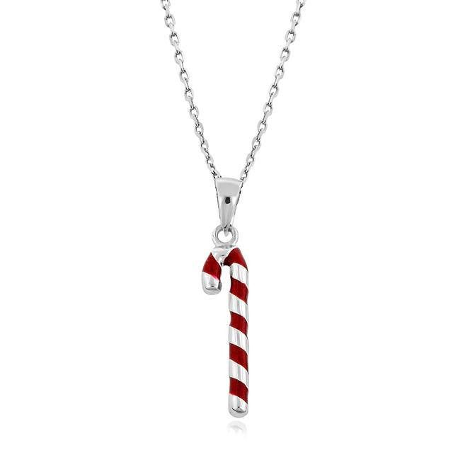 Sterling Silver Candy Cane Pendant with Chain