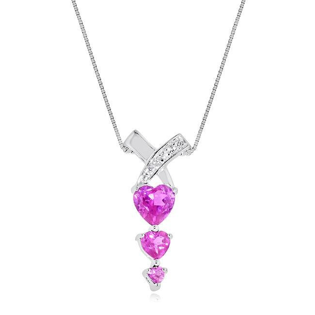 2.25 Carat Pink & White Sapphire Triple Heart Pendant in Sterling Silver