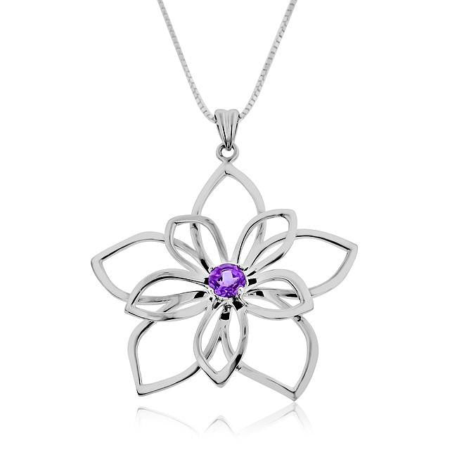 0.50 Carat Amethyst Flower Pendant with Chain