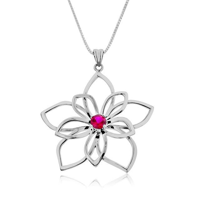 0.50 Carat Ruby Flower Pendant with Chain