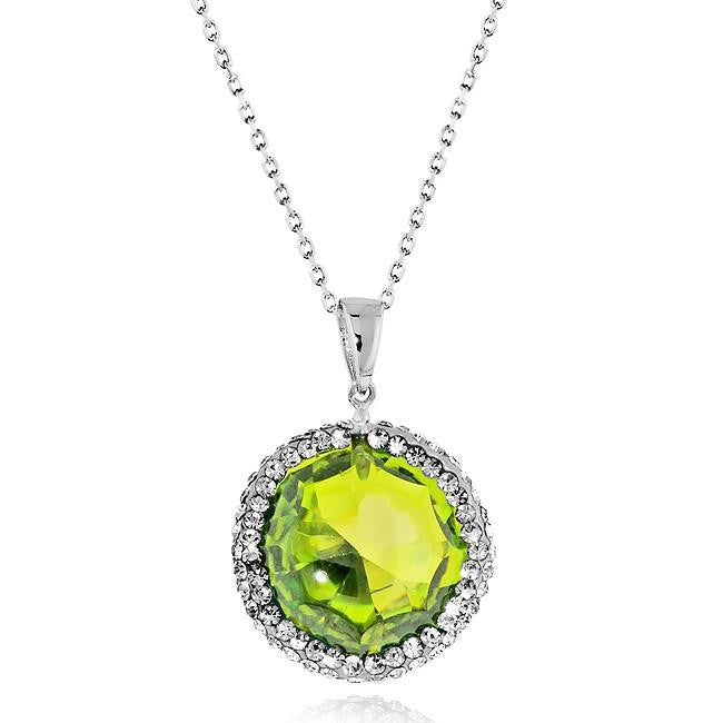 Light Green Cubic Zirconia Circle Pendant with Swarovski Accents in Sterling Silver - 18""