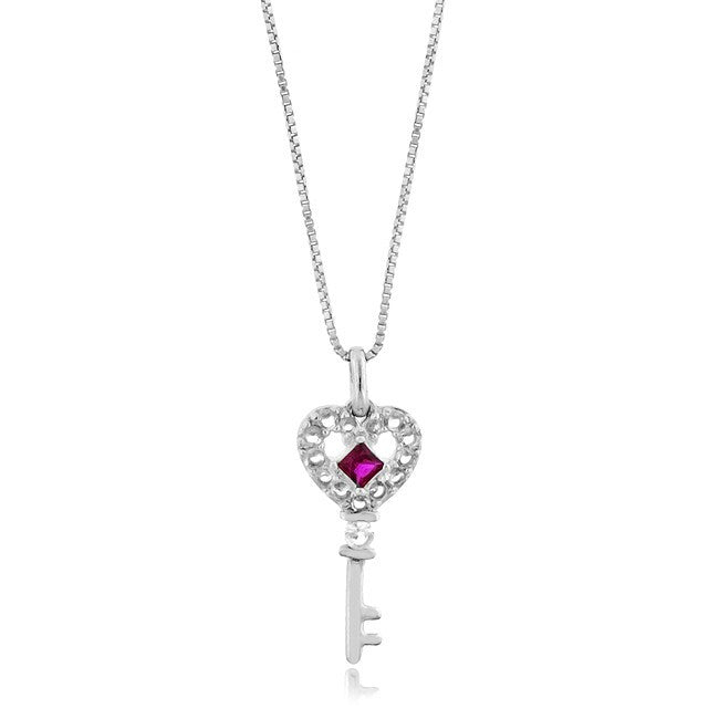 1/2 Carat tw Ruby & Sapphire Key Pendant in Sterling Silver with Chain