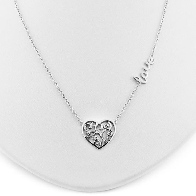 Filigree Heart LOVE Pendant in Sterling Silver with Chain - 18""