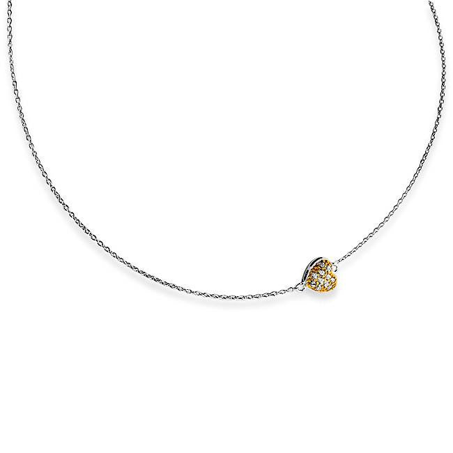 Sterling Silver Adjustable Necklace with Two-Toned Cubic Zirconia Heart Pendant