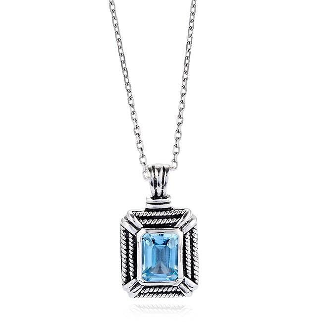 0.75 Carat Emerald-Cut Blue Topaz Pendant in Antique Finished Sterling Silver with Chain