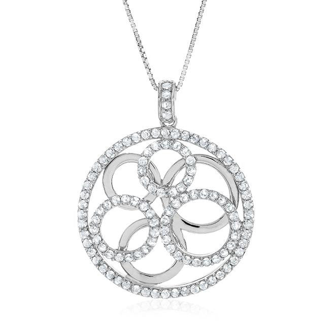 "2.50 Carat tw White Sapphire Multi-Circle Pendant in Sterling Silver w/ 18"" chain"