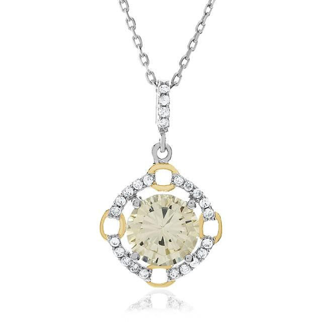 3.00 Carat tw Canary & White CZ Pendant in Sterling Silver with Chain